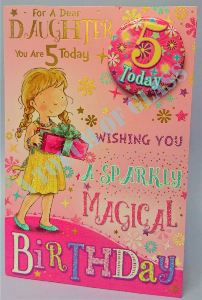 Badge Birthday Card - 5 Year Old Daughter